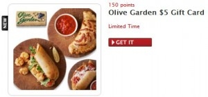 MyCokeRewards Olive Garden Gift Card ($5) for Only 150 Points