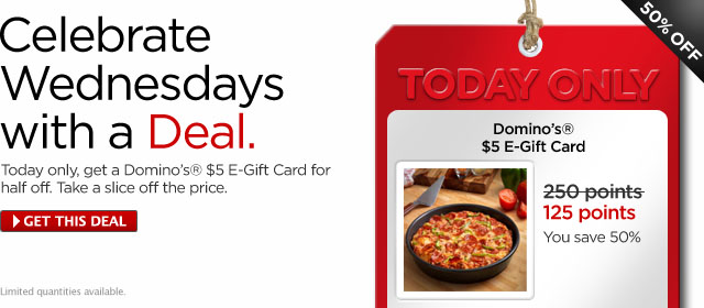 MyCokeRewards Wednesday Deal: Domino's $5 eGift Card for 125 Points!
