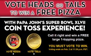 free papa john's pizza coin toss