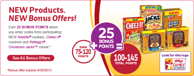 Kelloggs Family Rewards Bonus Point Offer