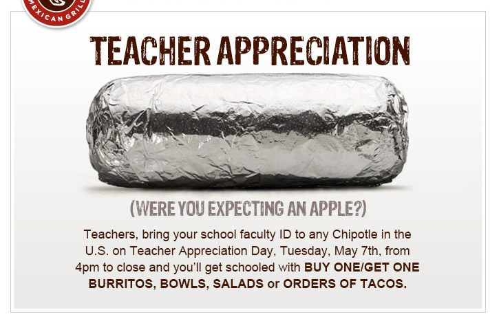 BOGO Chipotle on Teacher Appreciation Day