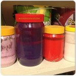 Repurposed peanut butter jars are perfect for left over paint.