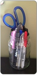 repurposed jars are great for office organization