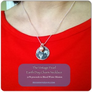 The Vintage Pearl Earth Day Charm necklace