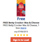 Free Betty Crocker Mac and Cheese at Kroger