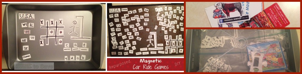 Car ride games- See how Mary from MissiontoSave.com repurposed old promo magnets.