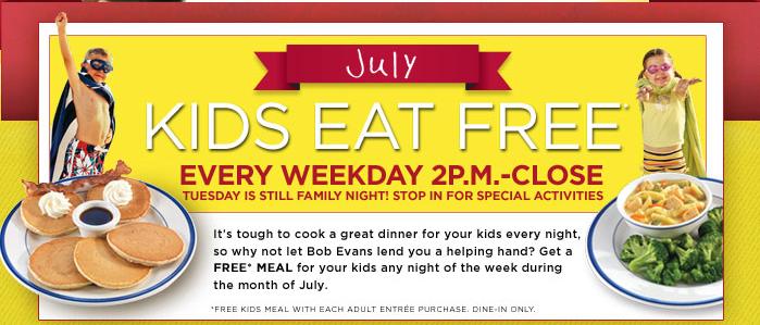 Bob Evans Kids Eat Free Every Weekday Nights in July + Free Sweet Treat Club!