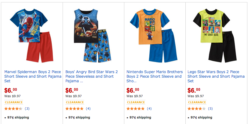 clearance character pjs on walmart