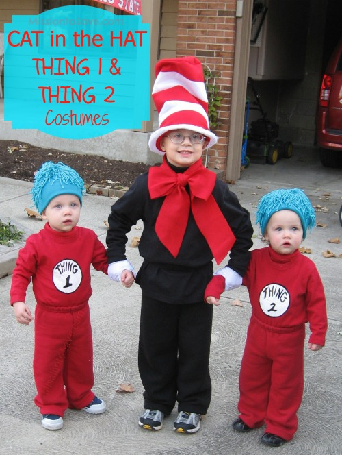 Diy cat in the hat and thing 1 and thing 2 costumes are great for dr