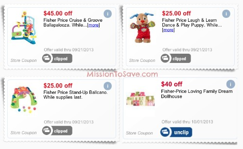 Coupons for Fisher Price Toys