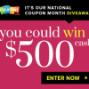 Enter to Win $500 Cash During National Coupon Month!