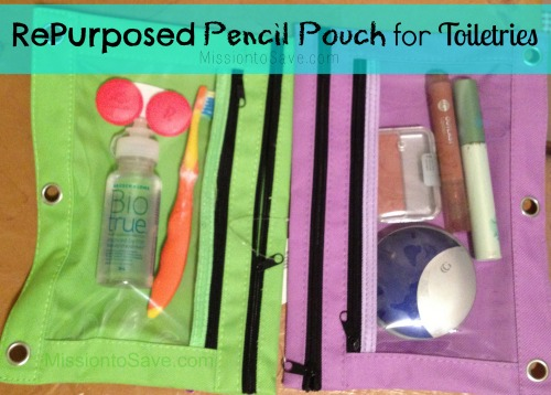 RePurposed Pencil Pouch for Toiletries