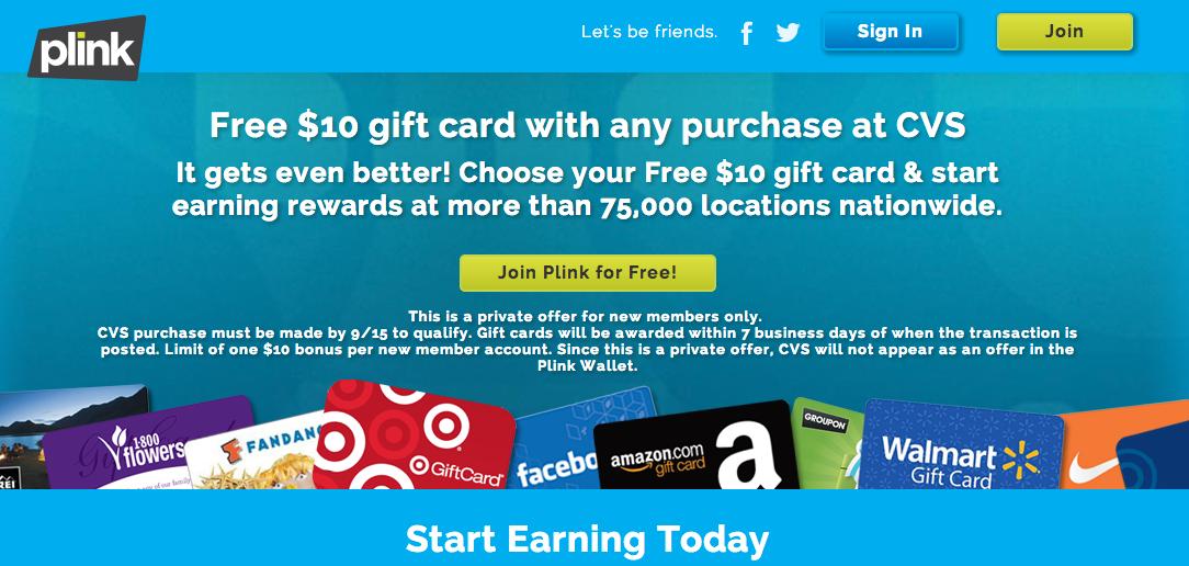 CVS Plink Free Gift Card