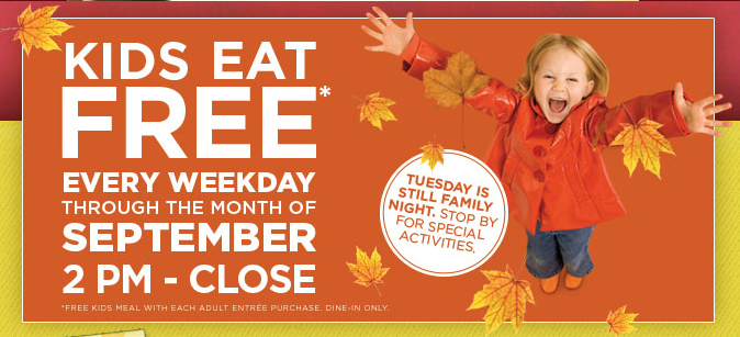 Shopping Tips for Denny's: 1. Your kids can enjoy free entrees from 4 p.m. to 10 p.m. when you bring your family in every Tuesday and order a regular menu item.