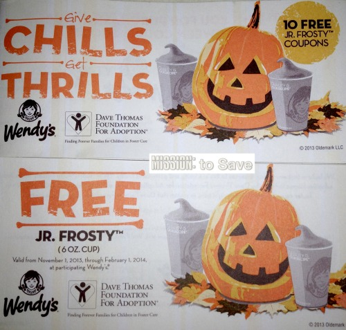 Wendy's Frosty Coupons Booklet