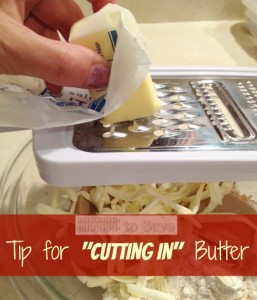 Check out this Time Saver Tip for Cutting in Butter (from missiontosave.com)