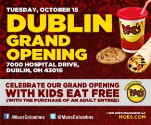 Moe's Dublin Grand Opening Kids Eat Free
