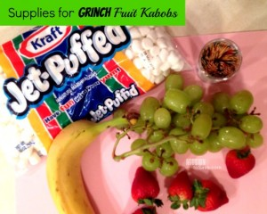 See how to make super cute Grinch Fruit Kabobs!  Bring joy to your holiday party!  from missiontosave.com