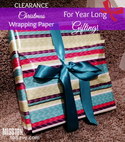 clearance christmas wrapping paper on a birthday gift