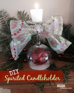 DIY Christmas Gift Idea : Spirited Candleholder (see how to on MissionToSave.com)