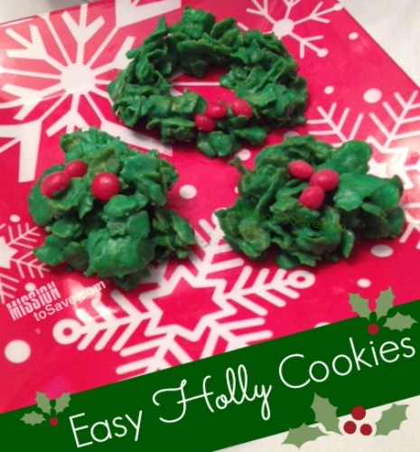 Easy Cereal Holly Cookies