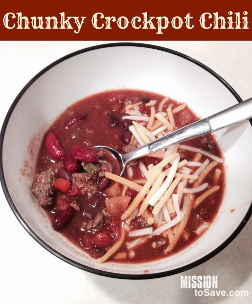 See my recipe for chunky Crockpot Chili.  It's a family fave!