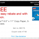 Staples: Free Paper after Easy Rebate and Coupon