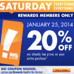 Big Lots 20% Off This Saturday – Buzz Club Members!