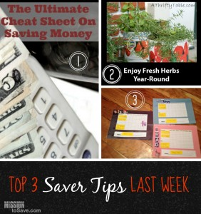 Check out the top 3 Saver Tips from last weeks link up.  You could be in the top 3 next eek.  Link up now