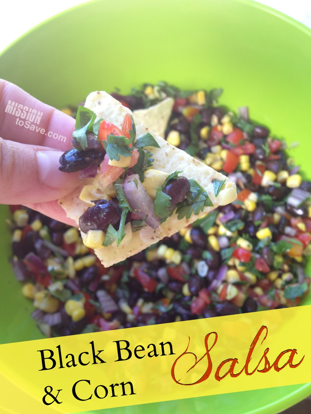 Black bean and corn salsa recipe is the perfect snack dip for summer coookouts or watching the big game.