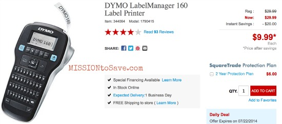 dymo label printer just at staples hurry thru 7 22 mission to save. Black Bedroom Furniture Sets. Home Design Ideas