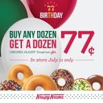 Krispy Kreme Birthday BOGO Offer on 7/11.