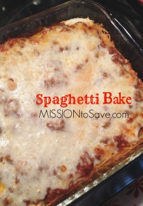 Easy Spaghetti Bake Recipe. Perfect for freezer cooking and busy weeknight meals.