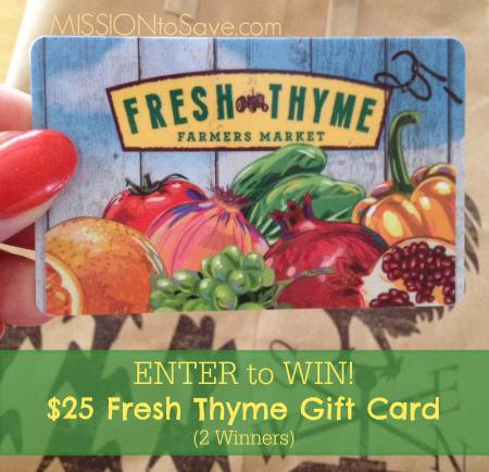 Win Fresh Thyme Gift Card (2 winners, ends 9/5/14)