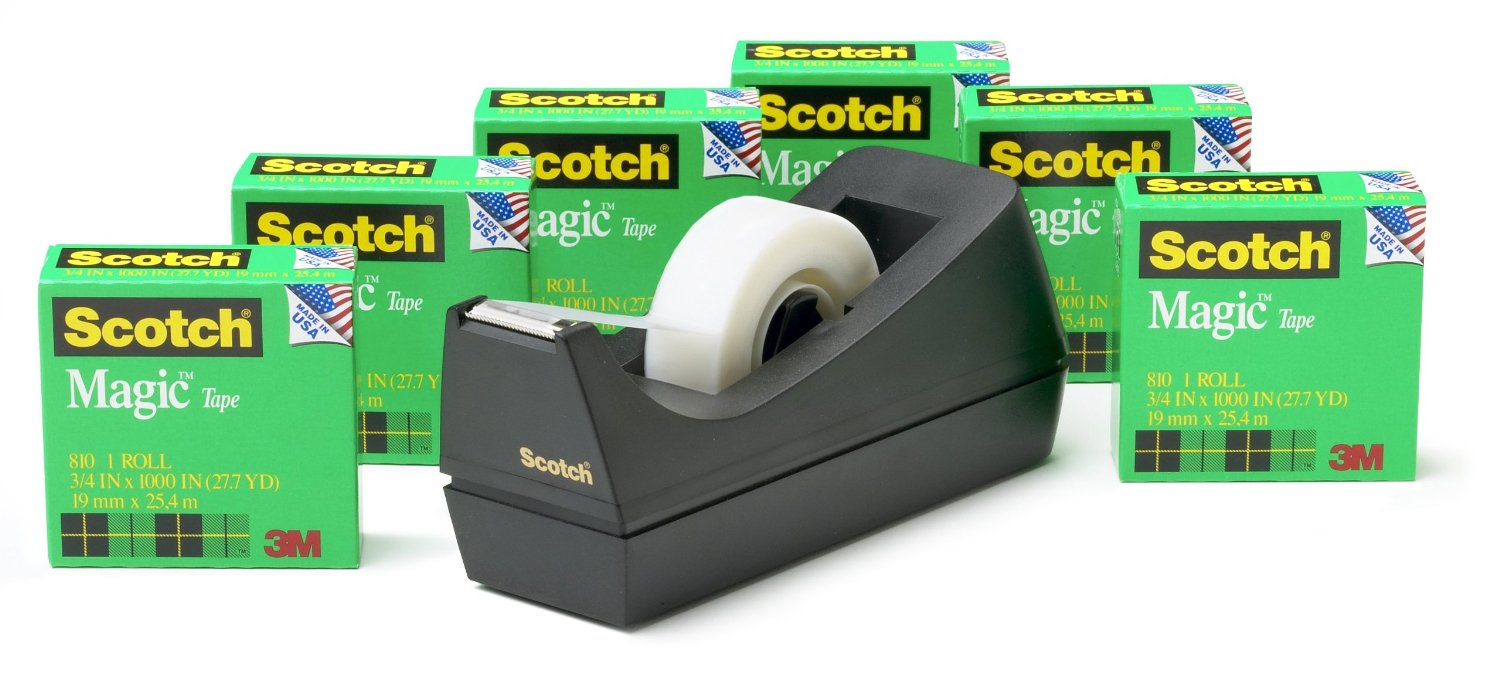 Scotch Magic Tape Dispenser Deal 6 Roll Value Pack For 8