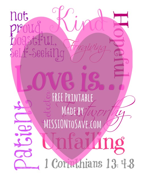 Love is Free Printable Subway Art.  Perfect for a sweet Valentine's Day decor item.  (And FREE too!)