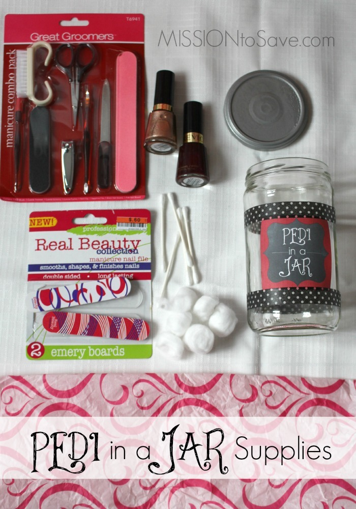 Have a special someone to pamper? Grab these supplies and make a DIY Pedi in a Jar Gift. Thrifty and Thoughtful gift idea for many occations.