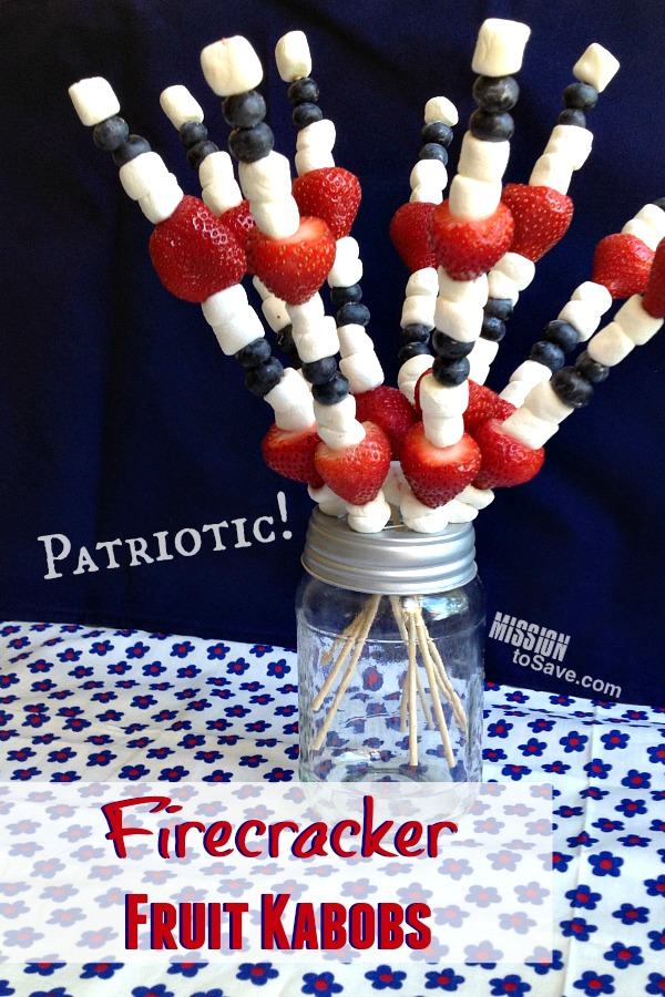 Patriotic Firecracker Fruit Kabobs are an easy side dish to bring to your next holiday cookout.  They also double as decor!