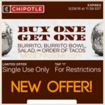 *HOT* Rare Chipotle Coupon for Buy One, Get One Free (Text Offer)