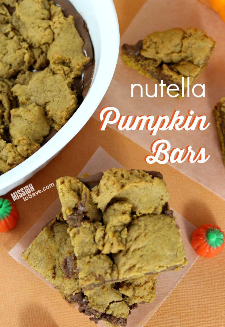 Make this delicious Nutella Pumpkin Bars Recipe today! Perfect for Fall treats!