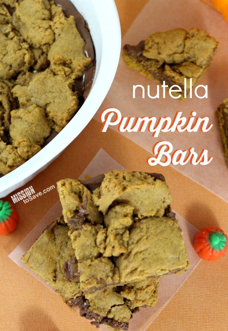 Make this delicious Nutella Pumpkin Bars Recipe Perfect for Fall treats!