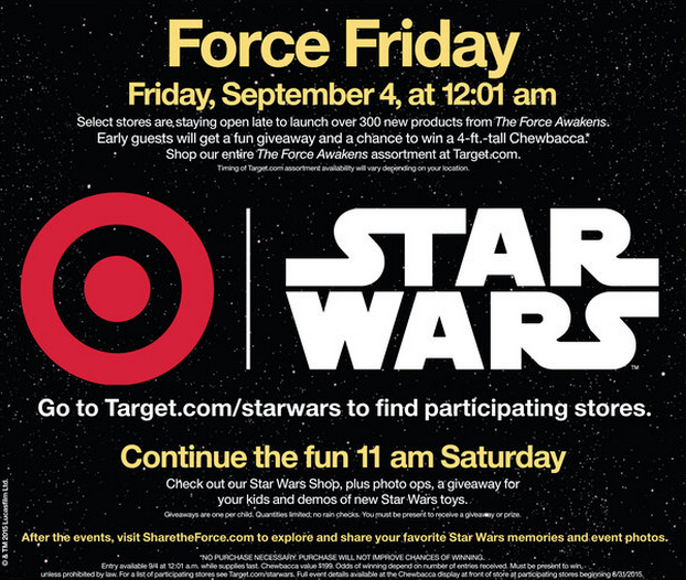 Star Wars Force Friday and Share the Force Saturday At Target