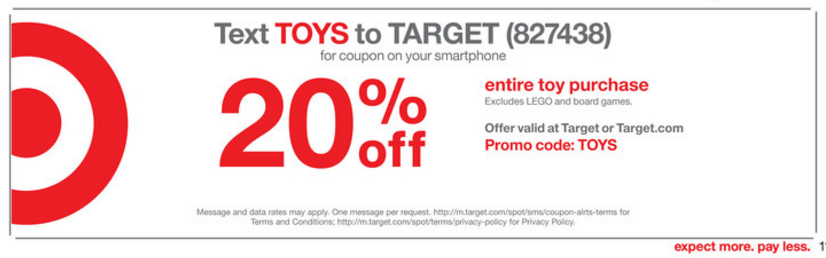 Target offers text codes and coupons for mobile user to save huge on their future orders. Send text to Target number to get huge discount. Send text to Target number to get huge discount. Target is the leading American retailer store chain that mostly works for North America and offer wide range of products in health, lifestyle, grocery.