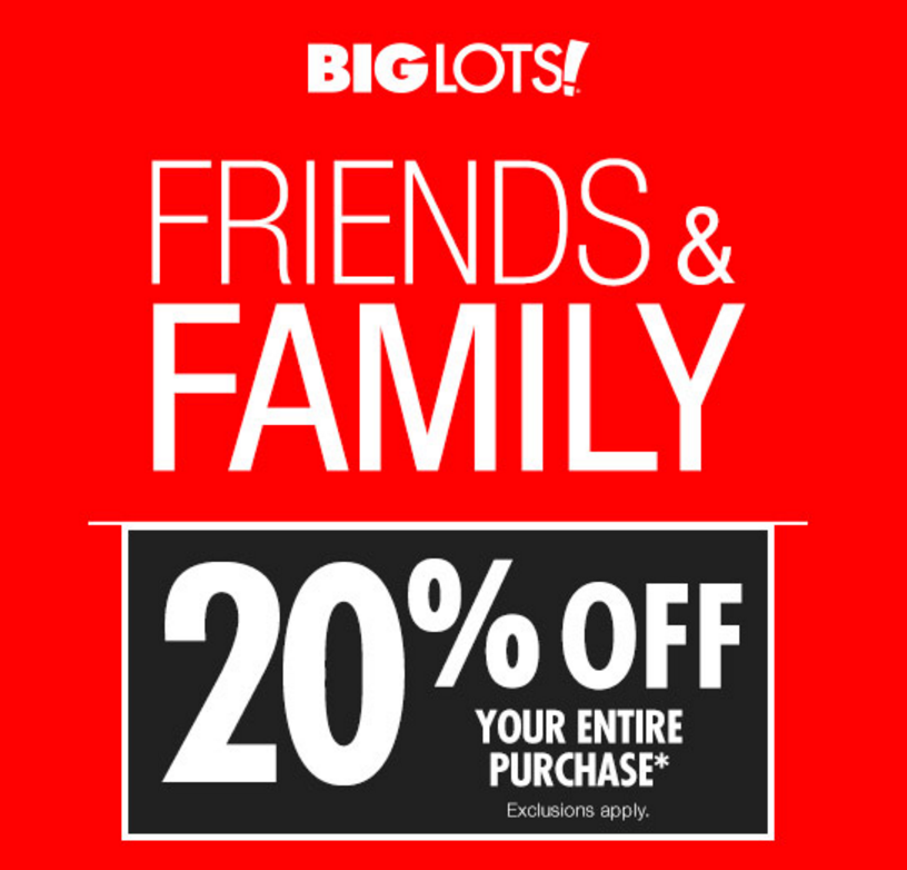 Big Lots 20% Off Sale, Friends and Family Weekend! (9/30-10/1 ...