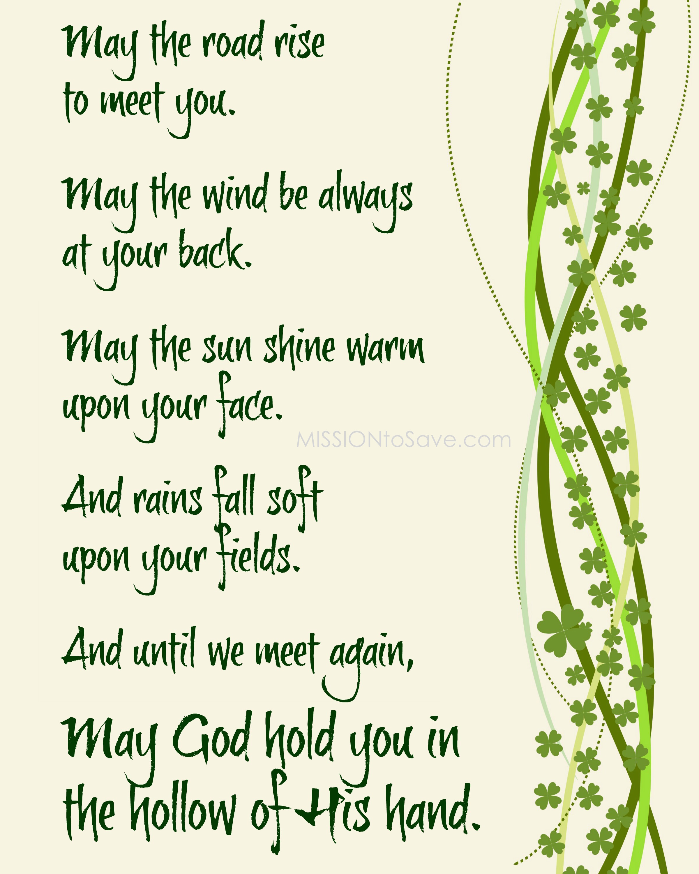 May the Road Rise Irish Blessing Prayer printable