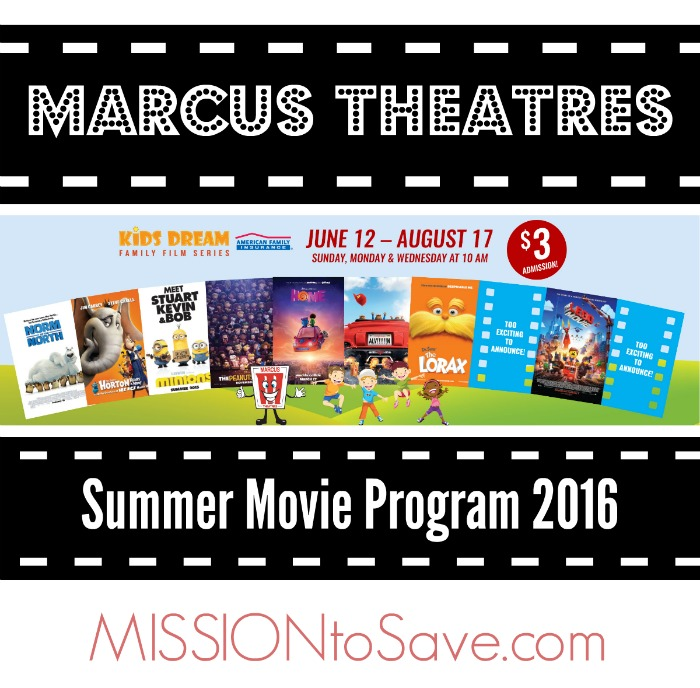 Marcus Theaters Summer Movie Program for Families- $3 ...