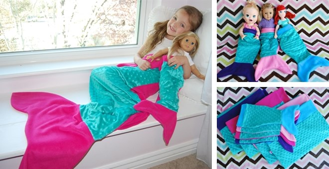 Little Girl S Mermaid Tail Blanket Matching Doll Tail