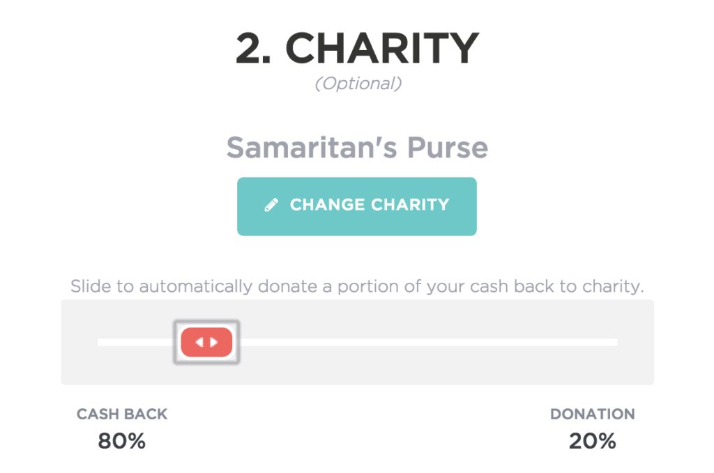 giving assistant choose cash back charity