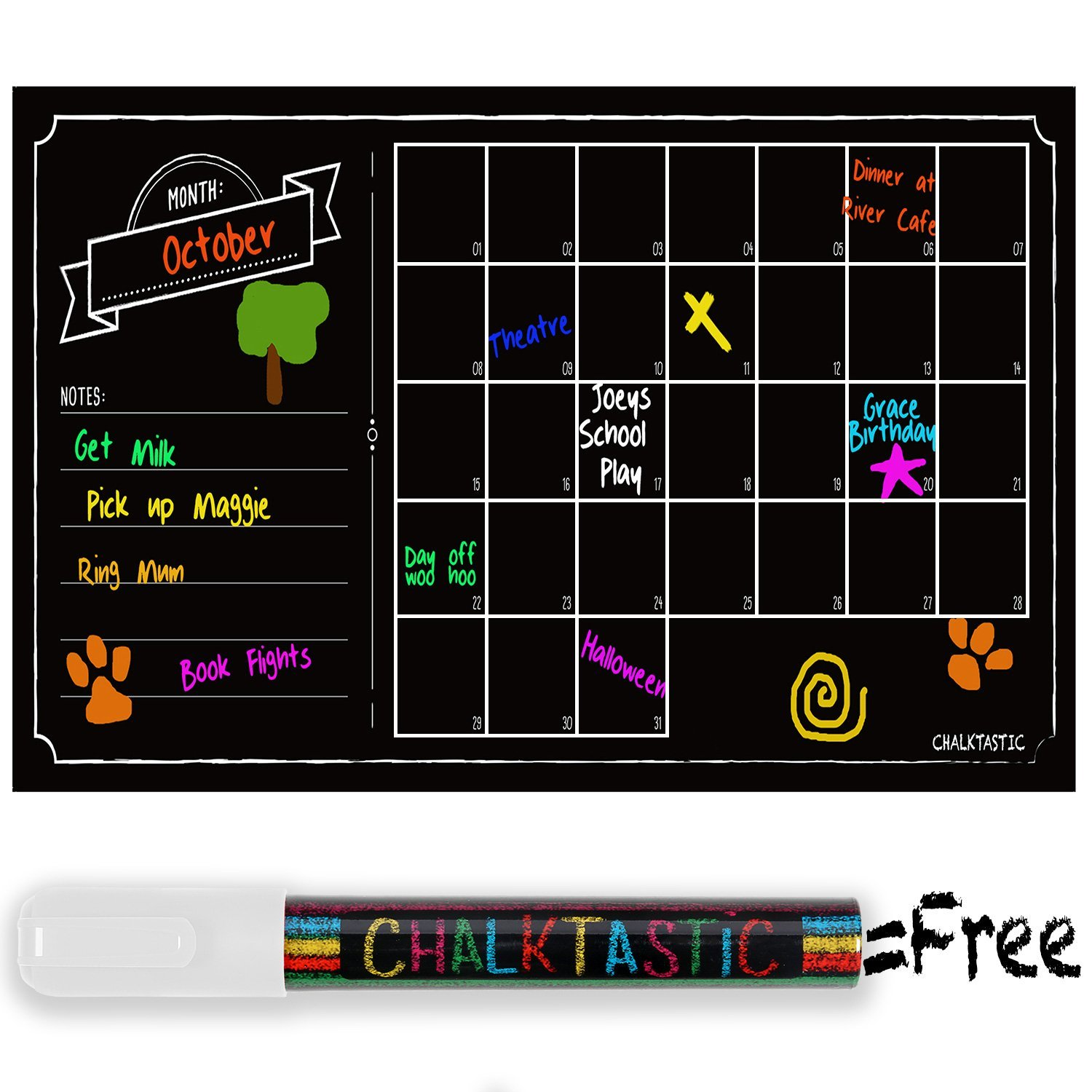 Chalkboard Calendar Decal : Highly rated chalkboard wall calendar decal over