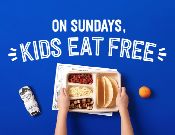 chipotle kids eat free